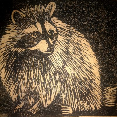 Raccoon (linocut)